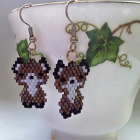 Pair of brick stitch beaded fox cubs, champagne coloured earwires
