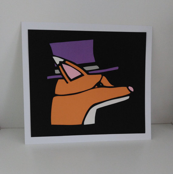 Hand Cut The Well Groomed Fox Paper Cutting