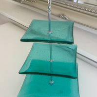 Fused Glass Modern Cake Stand