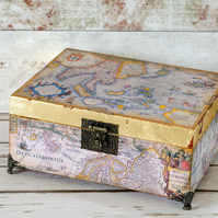 Vintage Map Box, Decorative Storage Box, Gift for Him, Men's Gift, Home Storage