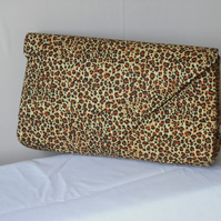 African inspired leopard print clutch bag