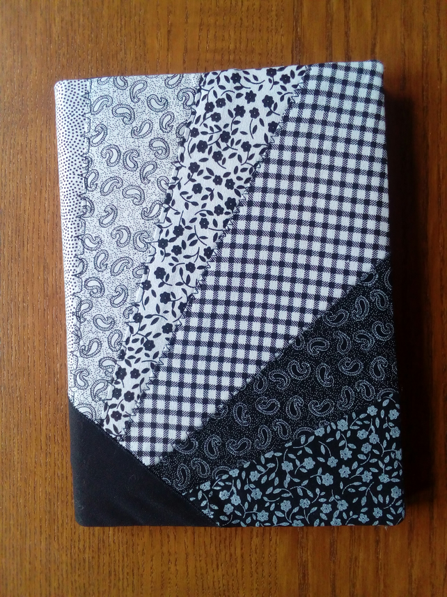 A5 Black and white patchwork 'sunray' notebook cover, with notebook