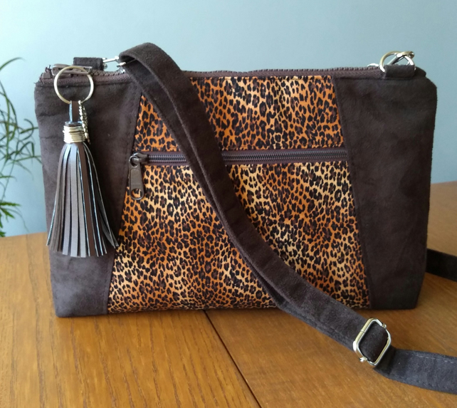 Faux suede and animal print crossbody bag