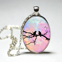 Birds on a branch silhoette Cameo Glass Cabochon Silver Necklace 30inch
