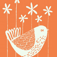 'Daisy' PRINT of an original illustration, orange