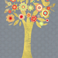 PRINT of an original mixed media collage, 'The patchwork tree'