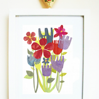 'Easter flowers' PRINT of an original mixed media illustration