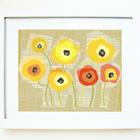 'Yellow poppies' PRINT of an original illustration
