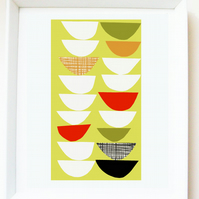 'Stack of bowls' art PRINT of original illustration