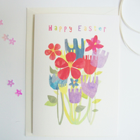 Easter greetings card, 'Easter flowers' spring garden card, flower illustration