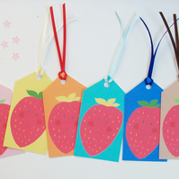 Gift tags, 6 handmade tags, Stella strawberry illustration, multicoloured