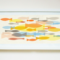 Art PRINT of original illustration 'Tropical shoal', fish illustration