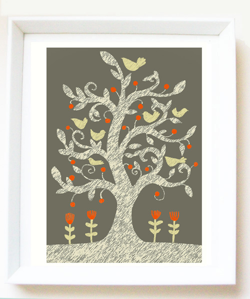 Art PRINT of original illustration 'September tree', tree illustration