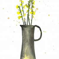 Yellow stems, art PRINT of original mixed media illustration