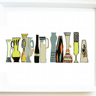 'Vase sale' art PRINT of original illustration, retro, mid-century inspired