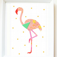 'Gogo flamingo' art print, flamingo illustration, bird print, wall decor