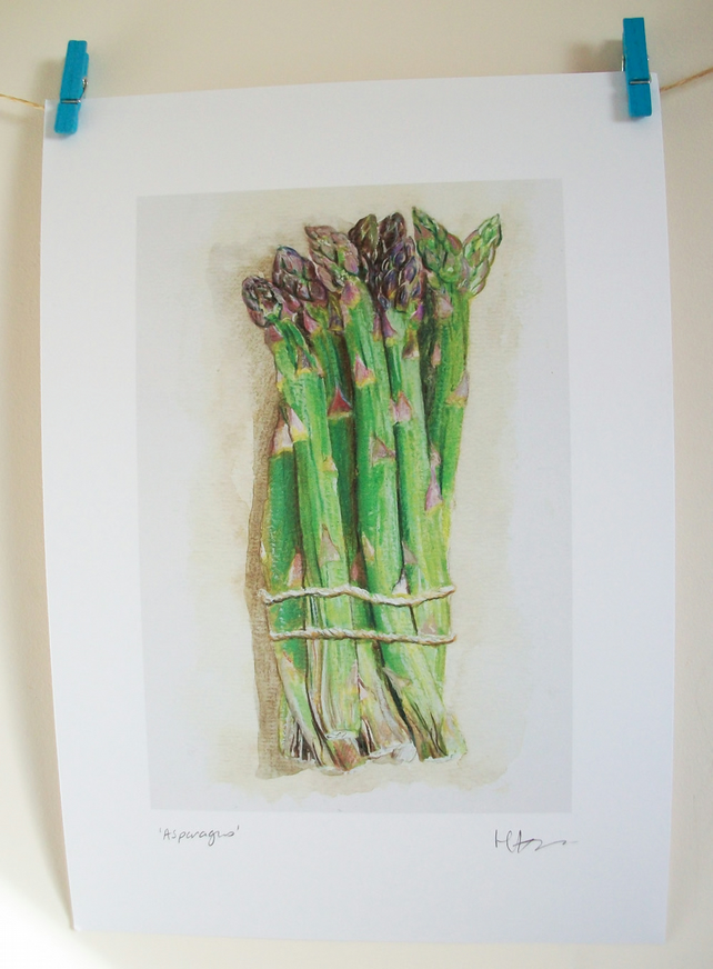 'Asparagus' PRINT of original illustration, food illustration, kitchen print