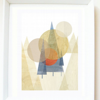 'Moonlight forest' print of original illustration, mountains, nature, abstract