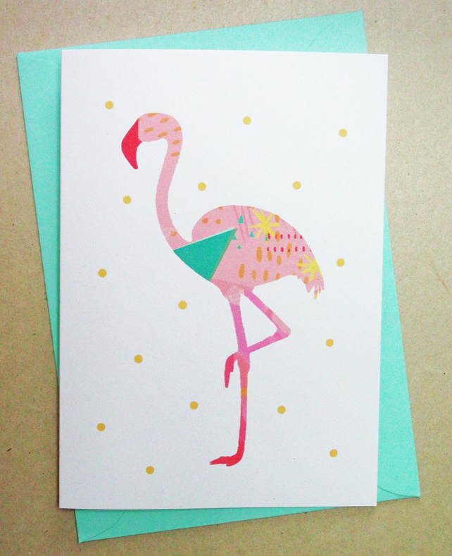 Greetings card 'Gogo flamingo' card, bird illustration