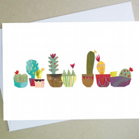 'Cacti' greetings card, birthday, blank card