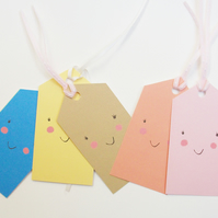 Gift tags, cute, cheeky, colourful, smiling gift tags, birthday tags,