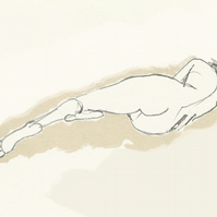 Art print, 'Lying figure', female nude illustration, original pencil drawing