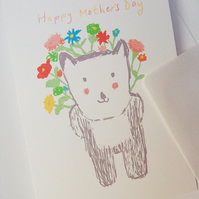 Mother's Day card, greeting card, 'Bearheart', bear card, cute, flowers,