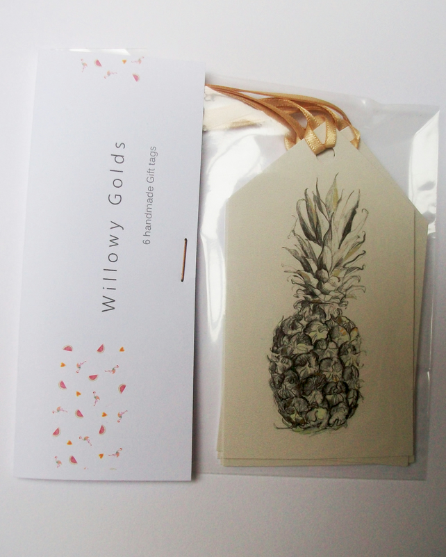 Pineapple gift tags,birthday tags, fruit illustration, pineapple drawing