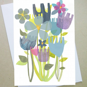 Greetings card, birthday card, Forget-me-nots, spring flowers, blank card,Easter