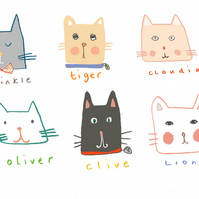 Greeting card, 'Cat friends', cat card, birthday card, blank card