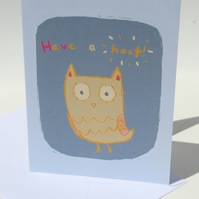 'Have a hoot' greetings CARD, owl illustration