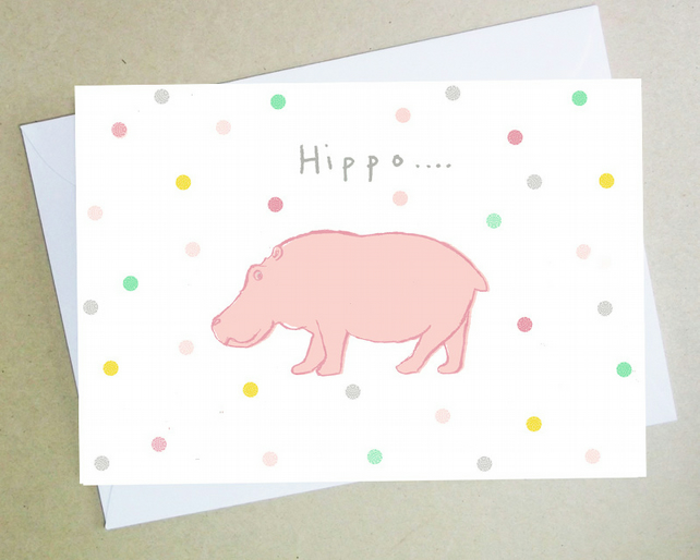 Birthday card, Hippo birthday card, greeting card, animals, Hippopotamus