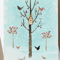Winter scene christmas card, xmas card, greeting card, seasonal, trees