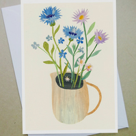 Greeting card, flower card, cornflowers, birthday card, blank flower  card