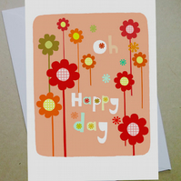 Greeting card, Oh Happy Day, Birthday card, Blank card, flowers, cute