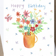 Birthday card, flower birthday card, bouquet, Happy Birthday