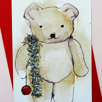 5 PACK of Teddy christmas cards, cute christmas card, teddy bear,