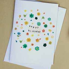 Birthday card, Greeting card, flowers floral card