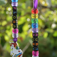 PERSONALISED Kids Rainbow Unicorn Name Keyring Keychain, Childrens Party Present