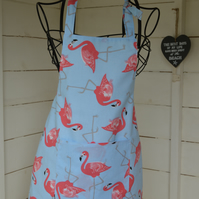Child's apron. Flamingo print apron. Fully lined..Can be personalised.