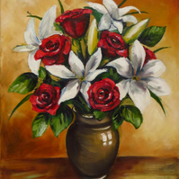 Lilies and Roses, Free UK Postage
