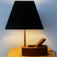 Wood plane table lamp.
