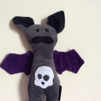 Grey Bat handmade plushie with Skull Tummy and purple wings, gift