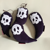 Skull Ghost Bird handmade plushie, Hanging Decoration