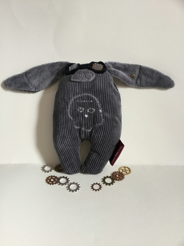 Steampunk Bunny, Handmade Plushie Steampunk Bunny with googles and Skull