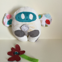 Winged Handmade plushie Wish Guardian with silver Dandelion, Kawaii, Nursery