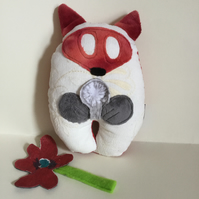 Corduroy Fox Plushie, Handmade Kawaii Fox Wish Guardian with silver dandelion