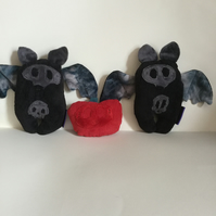 Black and Grey Plushie Bat Handmade with Wings and Skull Logo, Decoration