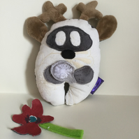 Handmade Soft Toy Deer Wish Guardian with silver Dandelion, nursery, gift