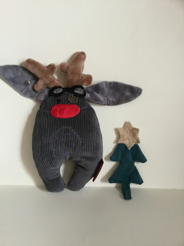 Steampunk Bunny, Steampunk Grey Bunny dressed up as Rudolph Reindeer